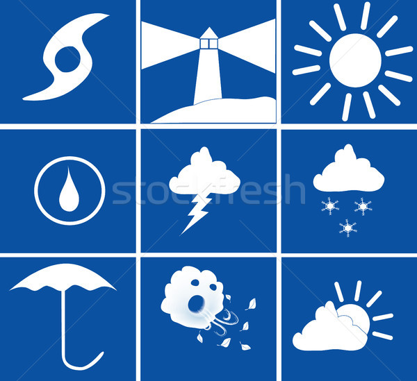 Blue and White weather icons Stock photo © marcopolo9442