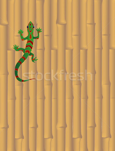 Gecko on Bamboo Wall Stock photo © marcopolo9442