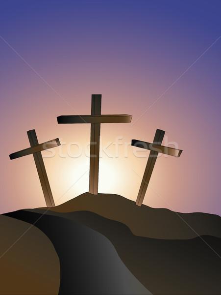 crosses on a hillside Stock photo © marcopolo9442