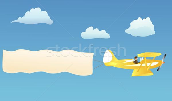 Kétfedelű repülőgép szalag hirdetés saját szavak égbolt Stock fotó © marcopolo9442