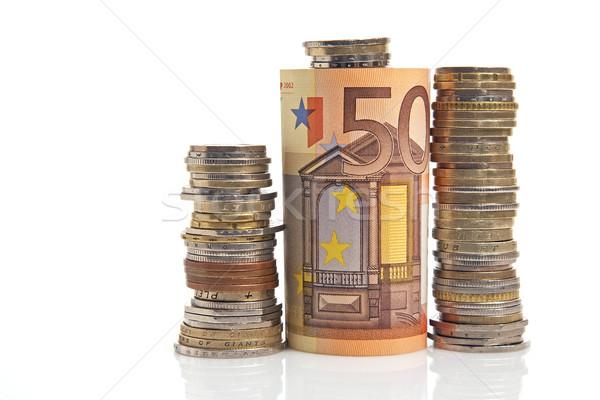 Cincuenta euros poco monedas fondo Foto stock © marekusz