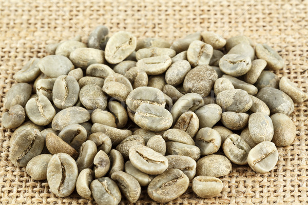 Stockfoto: Groene · koffiebonen · doek · omhoog · sluiten · achtergrond