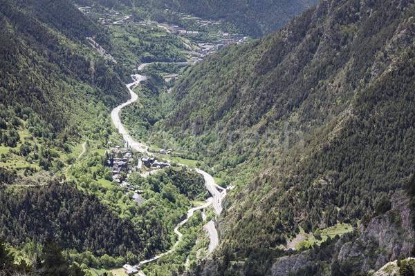 Berg weg vallei afstand boom natuur Stockfoto © marekusz