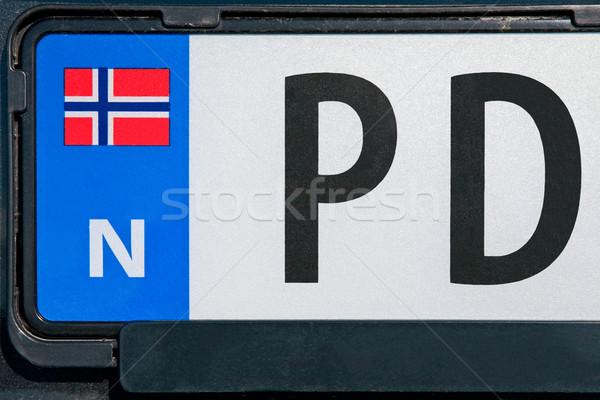 Noors voertuig registratie plaat auto aantal Stockfoto © marekusz