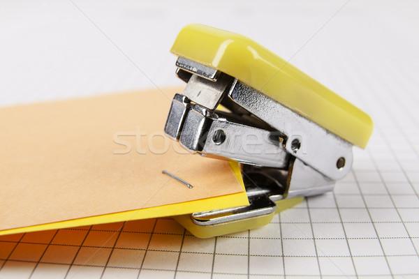Tűzőgép papír kettő színes szerszám irat Stock fotó © marekusz