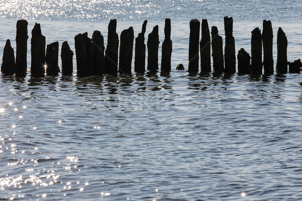 Silhouettes of destroyed breakwaters in Kolobrzeg Stock photo © marekusz