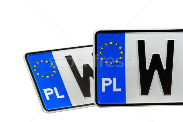 Licença placas europeu metal estrela prato Foto stock © marekusz