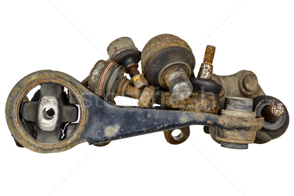 Stock photo: Various used parts of the suspension system