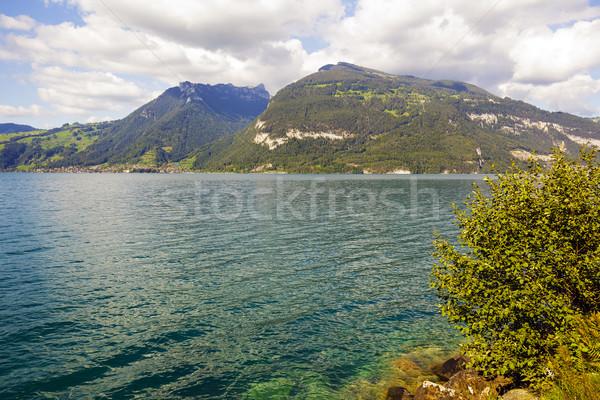 表示 湖 スイス 1 美しい 山 ストックフォト © marekusz