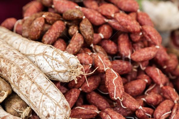 Dos especies italiano salchicha venta mercado Foto stock © marekusz