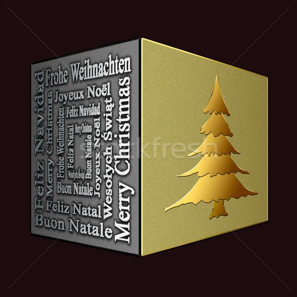 Neşeli Noel birkaç noel ağacı dizayn Stok fotoğraf © marekusz
