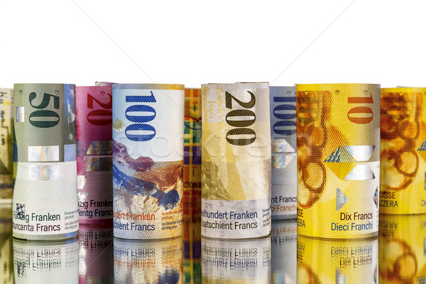Swiss franc, banknotes rolled up in rolls Stock photo © marekusz