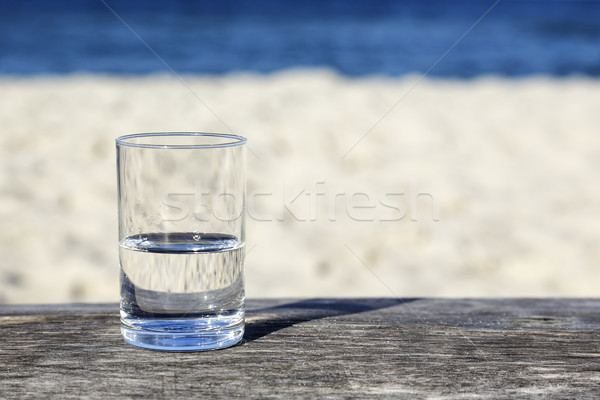 Stock photo: Glass of water which is half-full