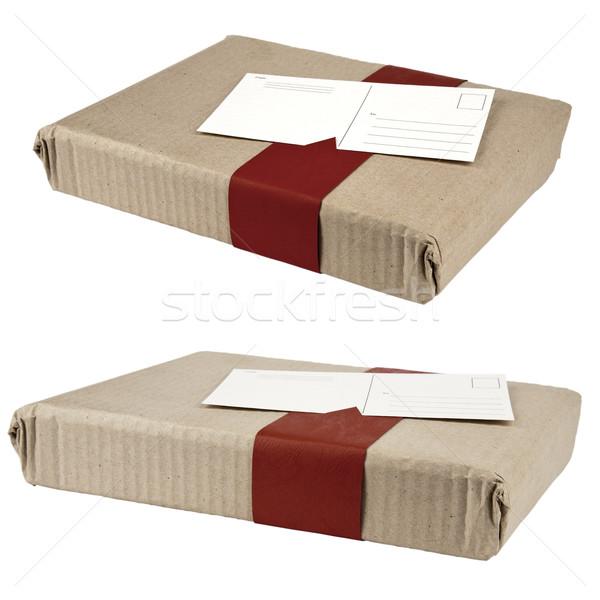 Dois caixas anexada cartão postal pequeno pacotes Foto stock © marekusz