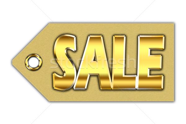 Word sale, written on golden tag Stock photo © marekusz