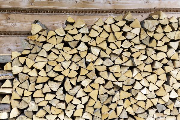Stok fotoğraf: Yakacak · odun · duvar · ev · kıyılmış · kuru