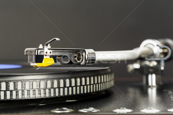 Phonograph cartridge waits over turntable  Stock photo © marekusz