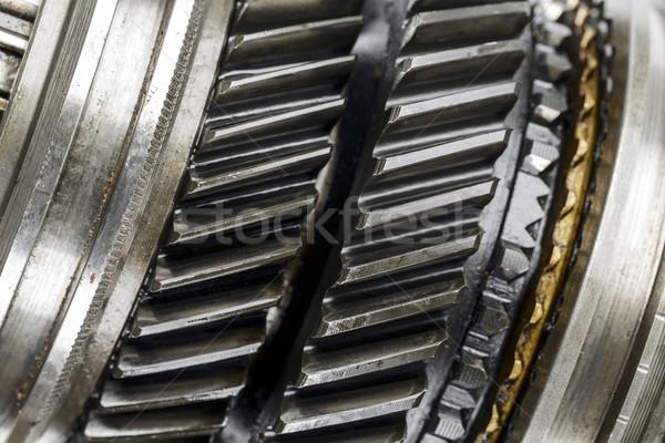 Versnellingsbak omhoog sluiten gebruikt metaal snelheid Stockfoto © marekusz