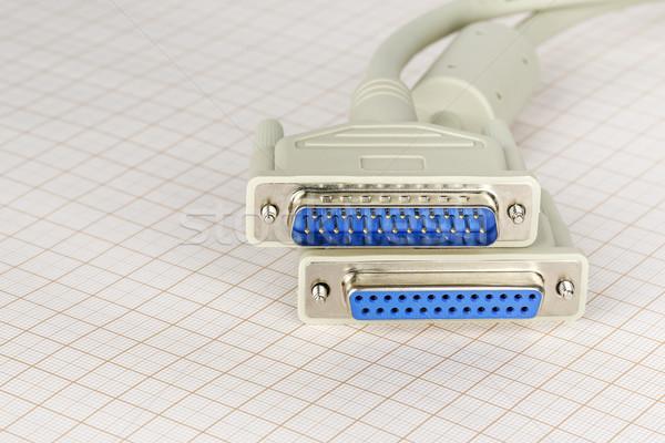 Kettő számítógép kábel párhuzamos nyomtató kábel technológia Stock fotó © marekusz