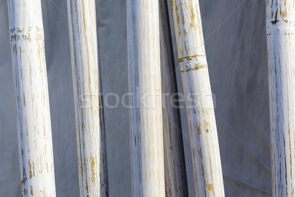Bambu boyalı beyaz ayarlamak kumaş doğa Stok fotoğraf © marekusz
