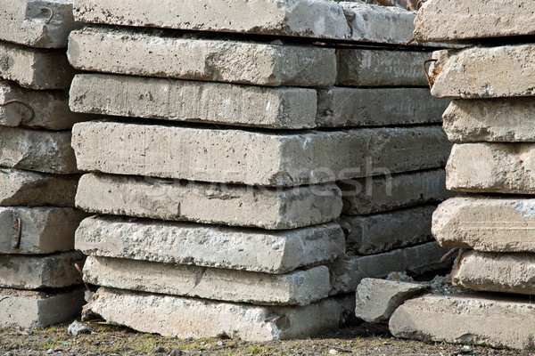 Stock photo: pile of concrete slabs construction