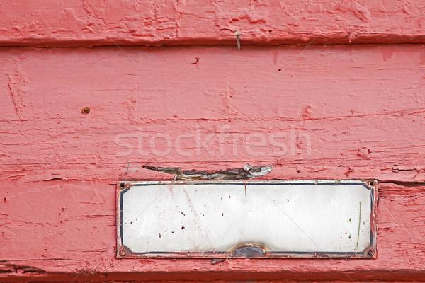 Oude adres plaat muur houten huis Stockfoto © marekusz