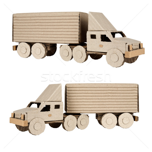 tractor trailer truck on white background Stock photo © marekusz