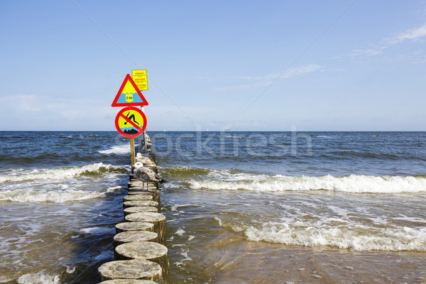 No jumping and large depth warning sign Stock photo © marekusz