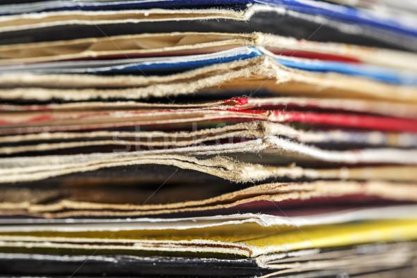Vieux vinyle dossiers coloré musique Photo stock © marekusz