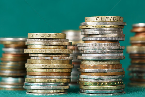 Coins stacked in several stacks Stock photo © marekusz