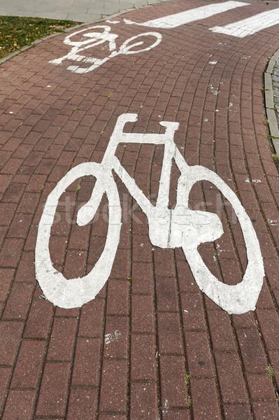 Bisiklet simge bisiklet yol boyalı Stok fotoğraf © marekusz