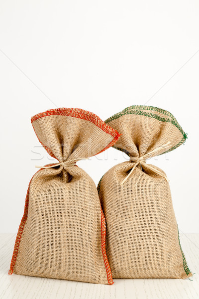 two jute bags on a white table Stock photo © marekusz