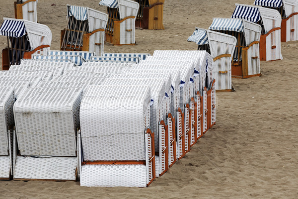 Roofed beach chairs on the beach Stock photo © marekusz