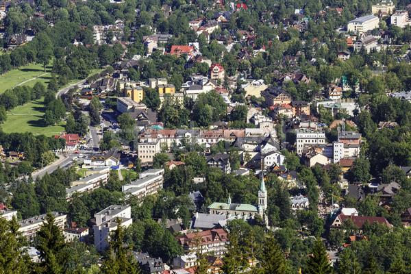 şehir manzara dağ yeşil kilise Stok fotoğraf © marekusz