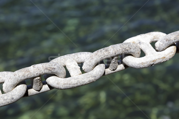 Galvanized chain, mooring line Stock photo © marekusz