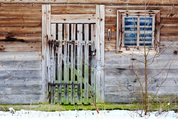 Eski kapı pencere ahşap Bina duvar Stok fotoğraf © marekusz