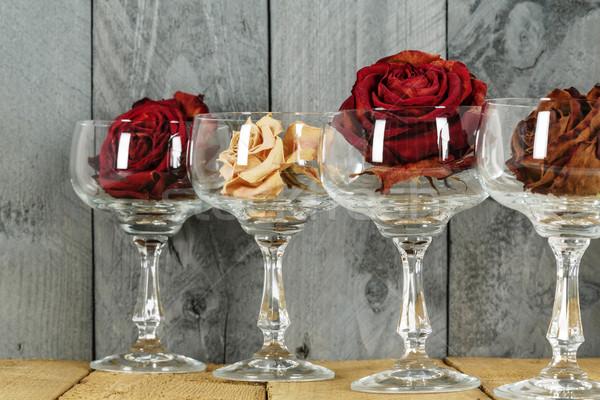Glasses with roses symbolize wine Stock photo © marekusz