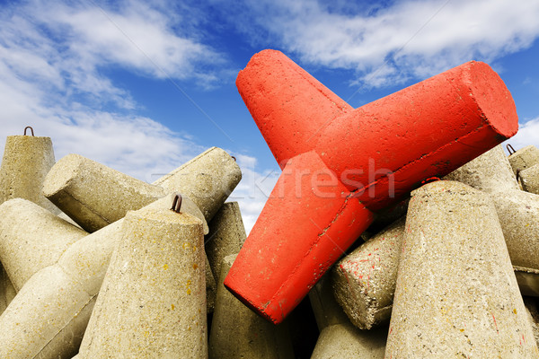 Strengthen against storm waves, one is red  Stock photo © marekusz