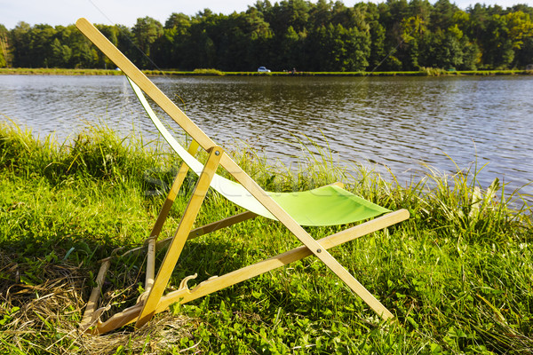 デッキチェア 湖 空っぽ 草 エッジ 木材 ストックフォト © marekusz