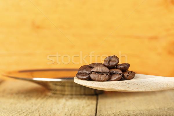 Chicchi di caffè argento piatto alimentare caffè Foto d'archivio © marekusz