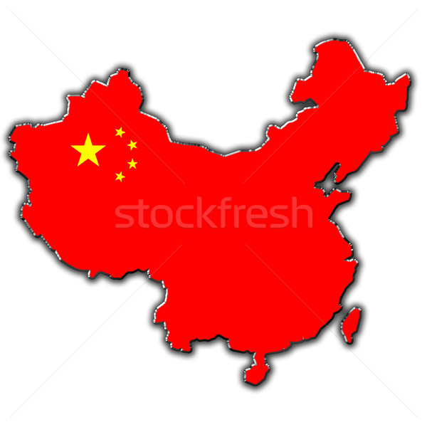 Estilizado contorno mapa China coberto Foto stock © marekusz