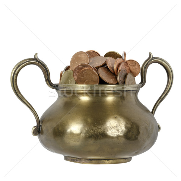 Moedas latão poupança dinheiro retro Foto stock © marekusz