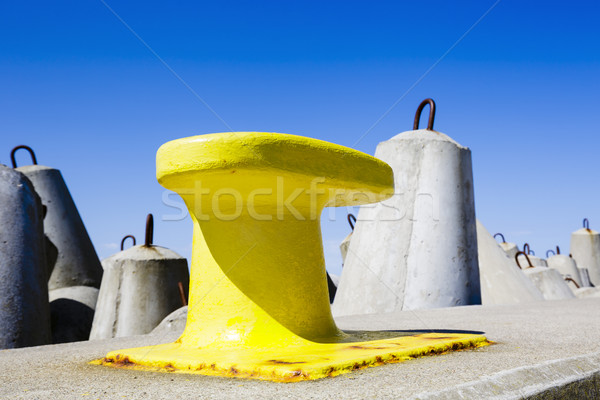 Mooring bollard painted in yellow  Stock photo © marekusz