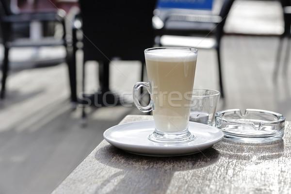 Magas csésze kávé tej fa asztal üres Stock fotó © marekusz