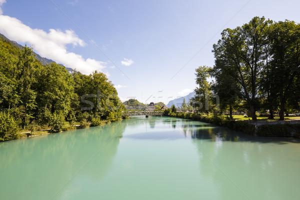 Nehir yeşil şehir doğa ağaçlar köprü Stok fotoğraf © marekusz