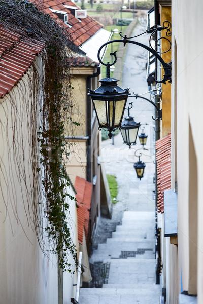 Keskeny utca lépcsősor falak házak Varsó Stock fotó © marekusz