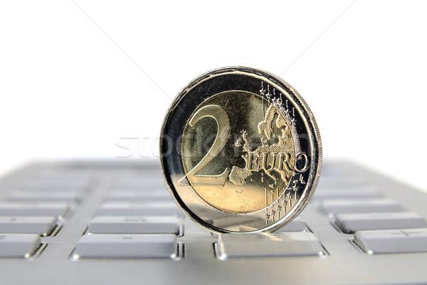 Dinero euros moneda teclado calculadora negocios Foto stock © marekusz