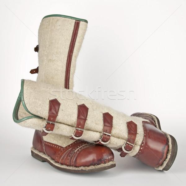 hand-made winter boots of highlanders of zakopane - poland Stock photo © marekusz