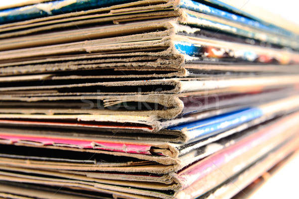 Stack of vinyl records in covers made of paper Stock photo © marekusz