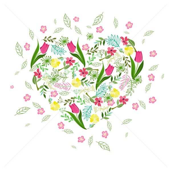 Stock photo: Vector floral background with herbs, tulips and wild flowers